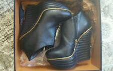 $650 New Le Silla Wedge Heels Booties Platform Shoes Size 39 9 M