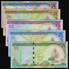 Maldives Set 5 Pcs, 5+10+20+50+100 Rufiyaa, 2006-2013, P-18-22, Unc