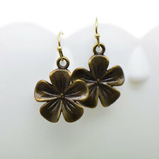 Flower Earrings, Antique Bronze Finish Vintage Style Charm Pendant Earring
