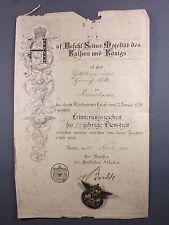 Urkunde und Erinnerungsabzeichen 25 jährige Dienstzeit 1905, 800er silber 1WK