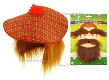 Mens Scottish Tam O Shanter Fancy Dress Costume Ginger Wig, Tartan Hat & Beard
