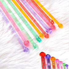 14 pcs 7 Sizes 4.0-10.0mm Plastic Handle Single Pointed Crochet Knitting Needles