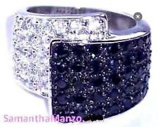 Black White Micro Pave Cz Cubic Zirconia Ring Bling Sz7