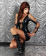 Black Lace Up PVC Wet Look Mini Dress Dominatrix Fetish Sexy party ClubWear 748