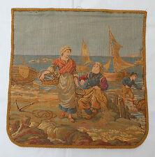 Vintage Tapiz Francés Escena Puerto De Mar 48x48cm (T588)