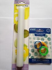 """PME non stick 9"""" inch rolling pin & set of 3 rolling pin guide rings sugarcraft"""