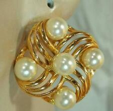 Lovely Vintage 80's Napier Signed Faux Pearl Modernist Clip Earrings 186F6