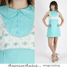 Vintage 60s Mod Dress Floral Lace Wedding Cocktail Party Peter Pan Collar Mini S