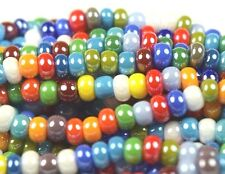 "Czech Glass Seed Beads Size 8/0 "" LUSTER OPAQUE MIXED "" Strands"