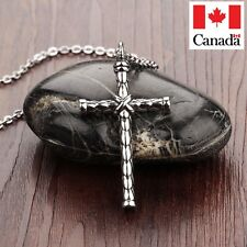 Silver Cross Necklace Pendant Titanium Stainless Steel Cross
