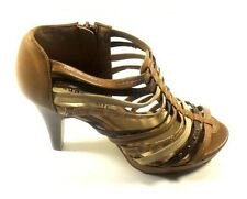 "Madden Girl ""Kickoff"" Brown Multi Gladiator Platform High Heel Pump Sandal 6.5M"