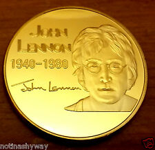 JOHN LENNON Gold Coin Give Peace a Chance Rainbow CND Symbol Pop Music Liverpool