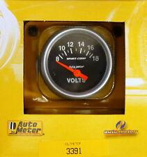 Auto Meter 3391 Sport Comp Voltmeter Volt Meter Gauge  2 1/16 8 - 18 Volts