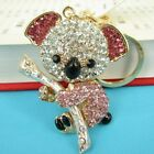 Koala Pink Bear Tree Charm Lovely Pendent Crystal Purse Bag Keyring Key Chain GI