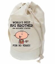 Worlds Best Big Brother 90th Birthday Present Duffle Bag - Gifts For Him