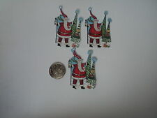 PK 6 ANITA'S CHRISTMAS SANTA AND TREES EMBELLISHMENT TOPPERS FOR CARDS OR CRAFTS