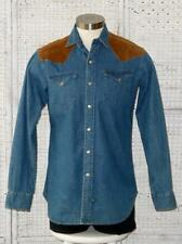 Vtg Ralph Lauren~Polo Country~USA~Denim+Suede Leather Logo Snap Western Shirt~M