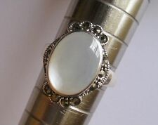 Solid 925 Sterling Silver Marcasite Mother Of Pearl Ring Size L. Vintage Style.