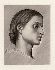 "Stunning 1800s Frederic LEIGHTON Antique Etching ""Girl from Anacapri"" SIGNED COA"
