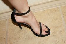 Stuart Weitzman Twinkle Black Satin Crystal Like Nudist Sandals Shoes 6.5 $550