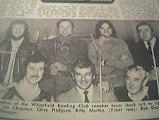ephemera 1977 - picture whitefield bowling club snooker team chapam hodgson