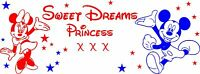 Sweet dreams mickey & minnie mouse wall art  girls bedroom sticker  personalised
