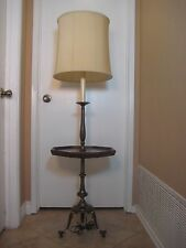 """Vintage Frederick Cooper Wood Side Table Brass Lamp, 56"""" Tall (Rare)"""