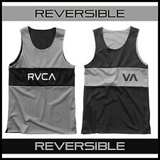 MEN'S RVCA VA SPORT DEALER TANK TOP REVERSIBLE BLACK GRAY MMA BBJ GYM SURF SKATE