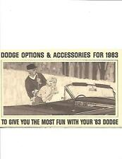 DODGE USA  1963 OPTIONS AND ACCESSORIES CAR SALES BROCHURE 1963