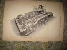 ANTIQUE 1883 MACHINE MACHINERY ENGINEERING MILL ENGINE IRON FORGE FRANCE PRINT