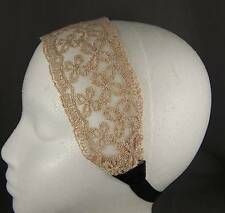 """Cream Off White Gold 2.5"""" wide stretch Lace headband hair band accessory"""