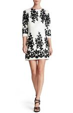 DRESS THE POPULATION 'FRANKIE' SEQUIN CREPE SHIFT IVORY/BLACK DRESS sz XS
