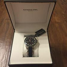 Raymond Weil Sport Stainless Steel Black Quartz Watch 8520 IN ORIGINAL BOX!