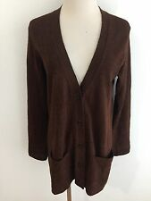 Peruvian Connection Long Cardigan Sweater Brown Baby Alpaca/Wool Blend Size S