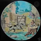 COLOUR Glass Magic Lantern Slide VICTORIAN COMIC SCENE NO2 C1890 DOG & MONKEY