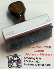 Hockey Goalie Rubber Stamp With Your Custom Address