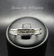 10ct White Gold 0.80ct Channel set Baguette Diamond Eternity Ring Size O 2.6g
