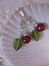 Cranberry Red Green Tiny Lingonberry Pearl Leaf Kirsten Earrings USA Handmade