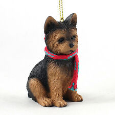 YORKIE PUPPY dog w/ scarf ORNAMENT Resin Figurine CHRISTMAS Yorkshire Terrier