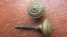 "Antique Fancy Cast Brass Greek Doorknobs Door Knobs by Corbin ""Olympus"" c1905"
