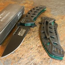 MTech BALLISTIC Spring Assisted Opening BLACK and GREEN LEAF Knife NEW!!