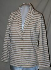 ISAAC MIZRAHI LIVE! STRIPED KNIT BLAZER JACKET 2 BUTTON HEAVY KNIT CREAM LARGE