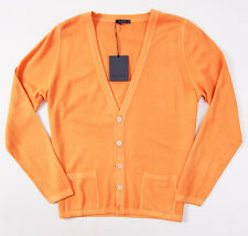 NWT $875 BERTOLO Tangerine Orange Super 140s Wool Cardigan Slim L/52 Sweater