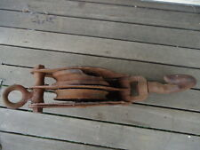 VINTAGE INDUSTRIAL HEAVY DUTY PULLEY BLOCK - DOUBLE SHEAVE - LARGE