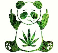 Pot Leaf Panda Decal Vinyl Home Decor Hippie Sticker MARIJUANA Print 420