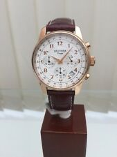 Sekonda Classique Rose Gold Watch White Dial Chronograph Leather Strap (516)