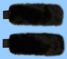 NEW GENUINE BLACK FOX FUR CUFFS - adjustable with micro hook & loop ends