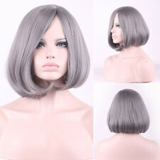 Women's Sexy Heat Resistant Wig Natural Gray Bobo Short Straight Synthetic Wigs