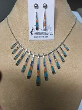 Navajo Native American Spiny Oyster Turquoise MultI Inlay Reversible Necklace #4