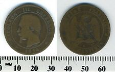 Empire of France 10 Centimes, 1854 K, Bronze Coin - Napoleon III - Bordeaux mint